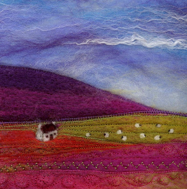 Across The Glen 12x12cm Needle felt landscape with wet felted sky. Machine stitching for a little added texture.