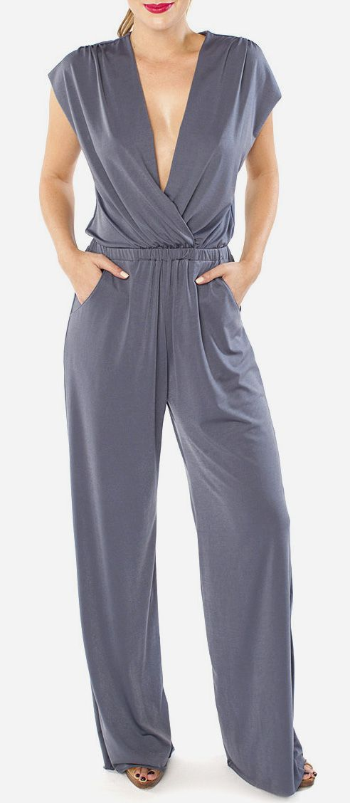 Titanium V-Neck Jumpsuit I love this and must have it.