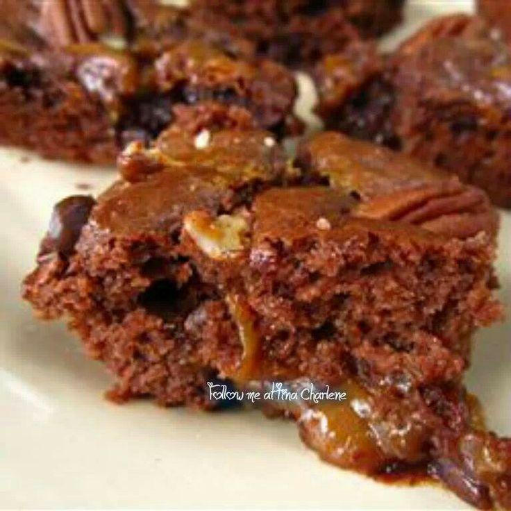 Caramel turtle brownies   sweets   Pinterest