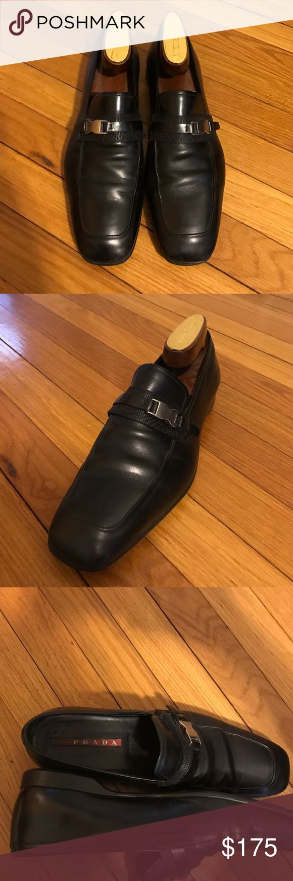 Original men's Prada formal black shoes 1 4D 1600 7.5 great condition worn once for a wedding. Limited edition. Black shoes with Prada logo metal buckle. Get it fast before it's sold! Prada Shoes Loafers & Slip-Ons