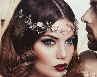 Novia de pan de oro corona - detalle floral hoja oro - accesorios para el cabello de la novia - peluca ESTILO OOAK: Annie
