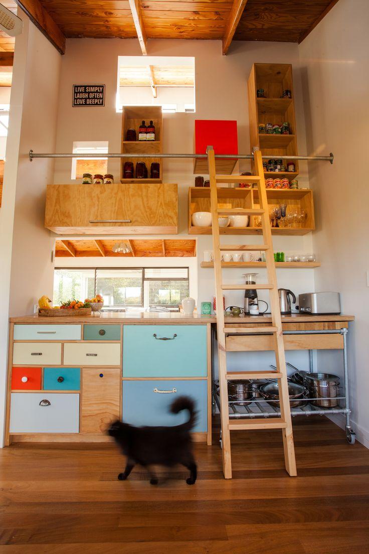 Donna Rogers Design Interior Design, Waiheke. Kitchen colour concept, plywood, vintage door handles, ladder. Open Cabinetry