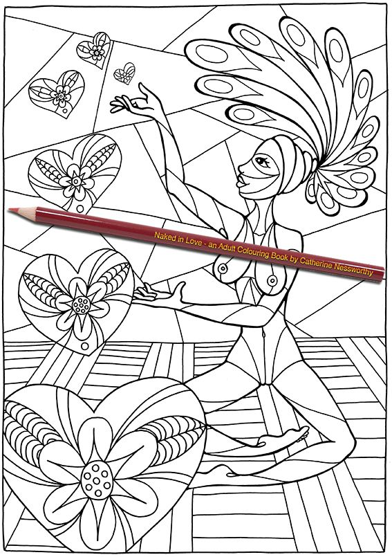 a nude african beauty magically produces hearts from the palm of her hand in this adult colouring page from naked in love an adult colouring book by - Nude Coloring Book