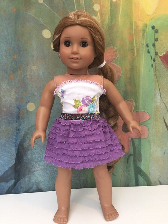 Purple /& Floral Ruffled Skirt for 18 inch American Girl Doll Clothes
