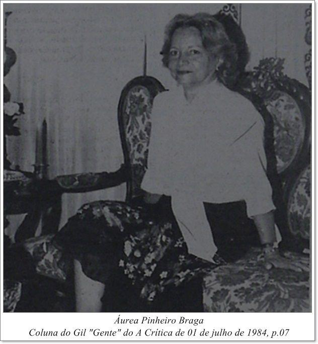 """Áurea Pinheiro Braga - Coluna Gil """"Gente"""" do A Crítica de 01 de julho de 1984"""