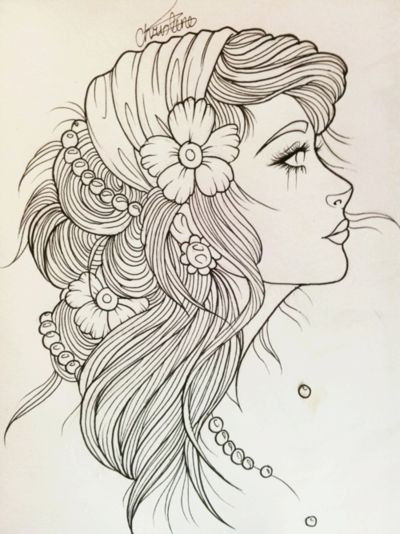 Gypsy Girl Sketch. Would be so pretty...could imagine all the bright, pretty colors you could do with this.