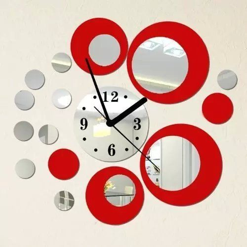 Alrens_DIYTMRed and Silver Rounds Wall Clock Mirror Wall Clock Modern Design Removable DIY Acrylic 3D Mirror Wall Decal Wall Sticker Living Room Bedroom Office Decoration -- You can get additional details at the image link. (This is an Amazon Affiliate link)