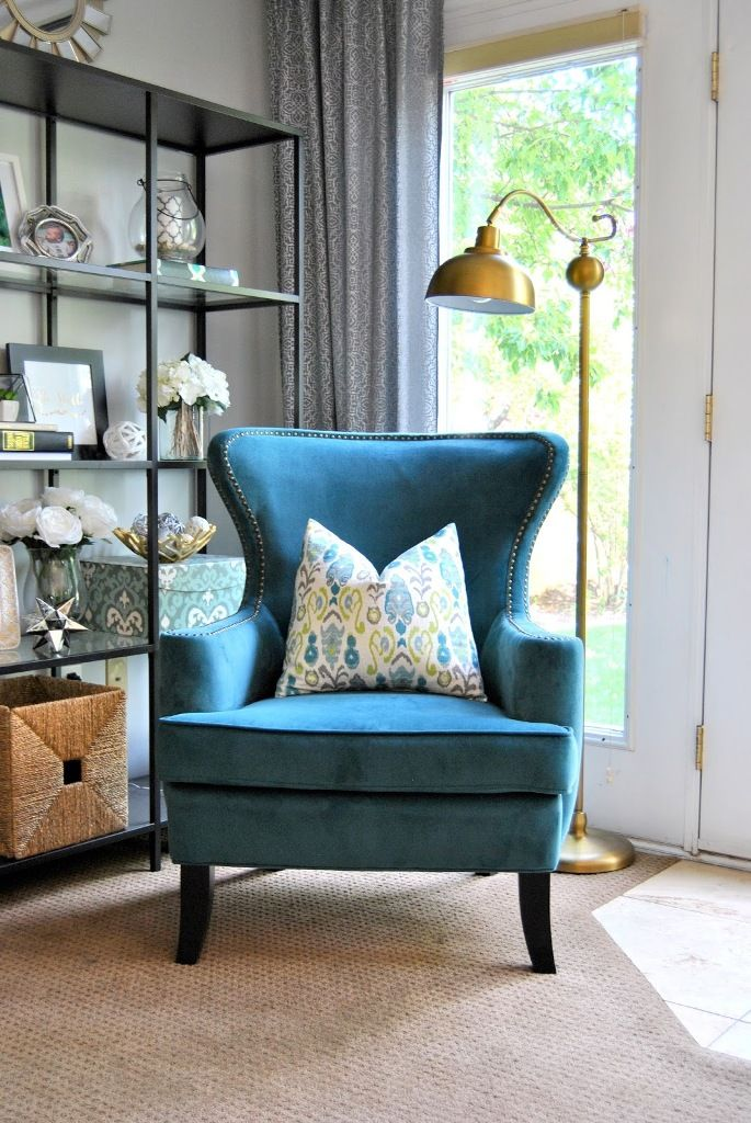 Home Living Room Vintage Style Ideas Blue Accent Reading Armchairs For Living Room Floral Pattern Small Cushion Ideas Standing Golden Reading Lamp