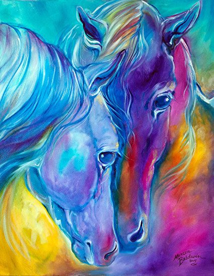 LOVING SPIRITS ~ Color My World with Horses Series 2015 by M BALDWIN Oil ~ 28 x 22