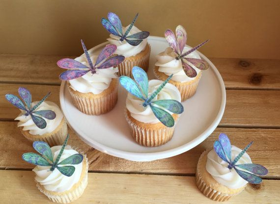 Dragonfly, Edible Paper Cupcake Toppers, Cake Toppers, Wafer Paper, Food Safe, Please Read Item Details for more information