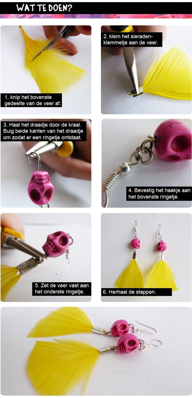#DIY 'Doodshoofd Oorbellen' -  datzitwelsnor.net