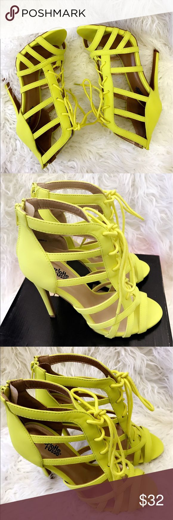 Charlotte Russe glee neon yellow lace heels size 8 Brand new in box Charlotte Russe glee neon yellow from lace heels size 8 Charlotte Russe Shoes Heels