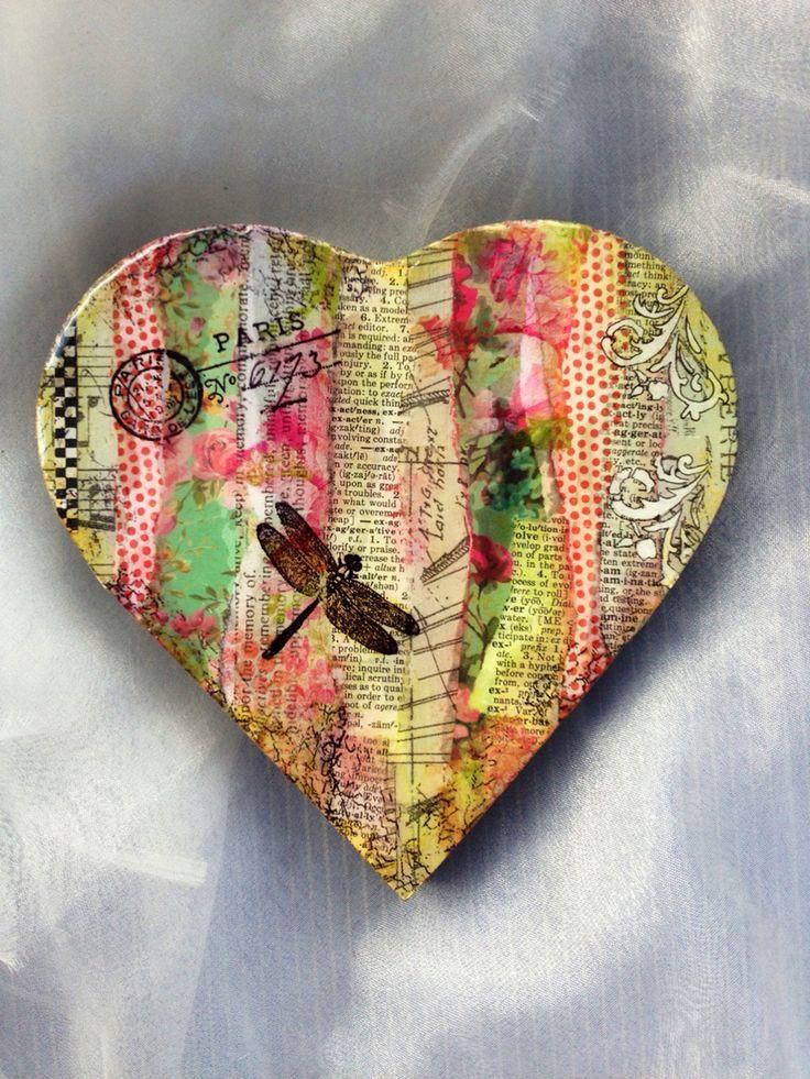 Mixed media heart art by Kristin Hyde
