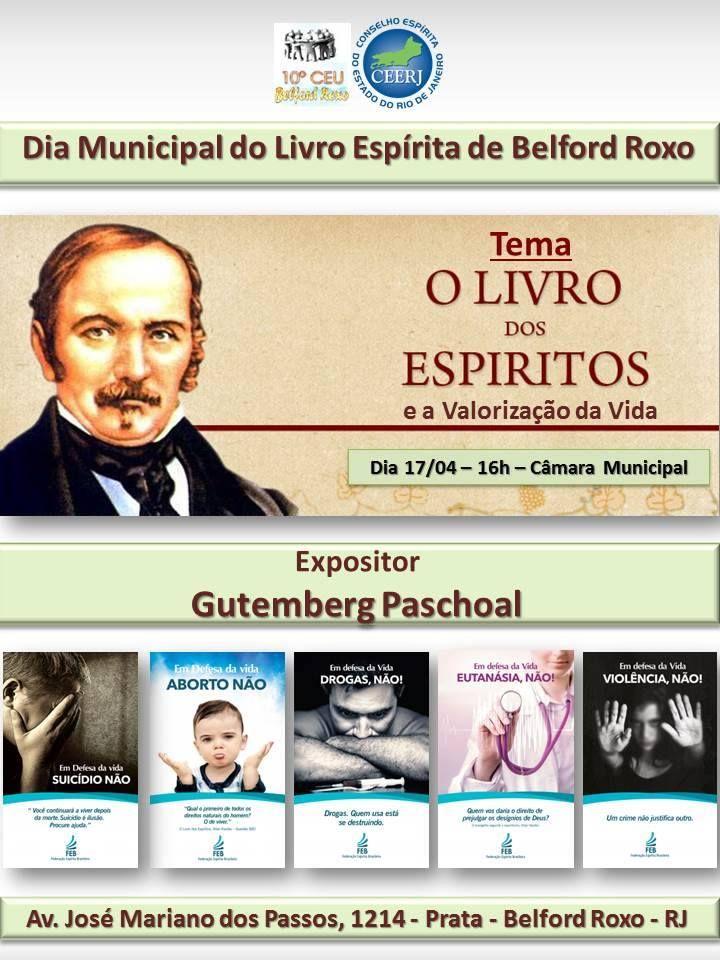 10º CEU Belford Roxo Convida para o Dia Municipal do Livro Espírita - Belford Roxo - RJ - http://www.agendaespiritabrasil.com.br/2016/04/13/10o-ceu-belford-roxo-convida-para-o-dia-municipal-do-livro-espirita-belford-roxo-rj/