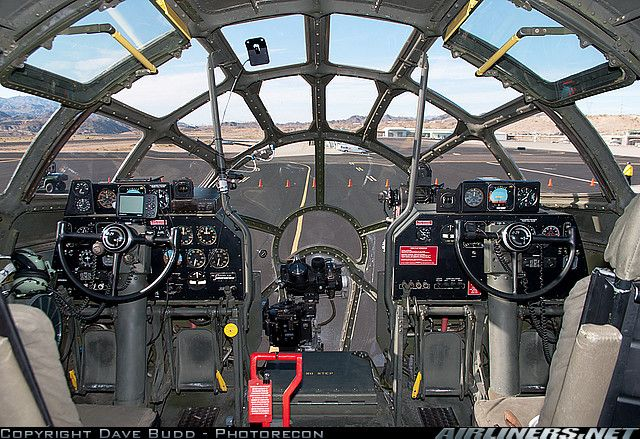 Boeing B-29 cockpit. Beautiful 1940's design and functionality.