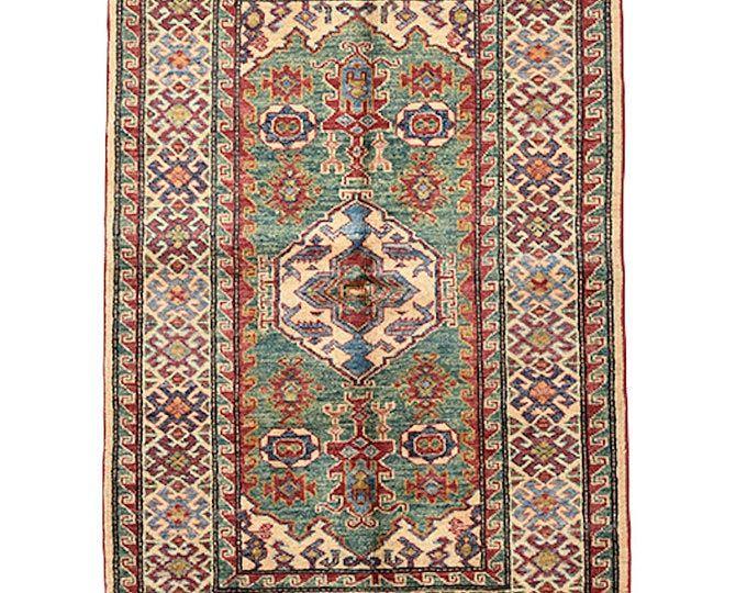 Light Colored Vintage Rug 11x8 Feet Hand Knotted Geometric Tribal Kazak Antique Wool Buddha Vintage Rugs Yoga Meditation