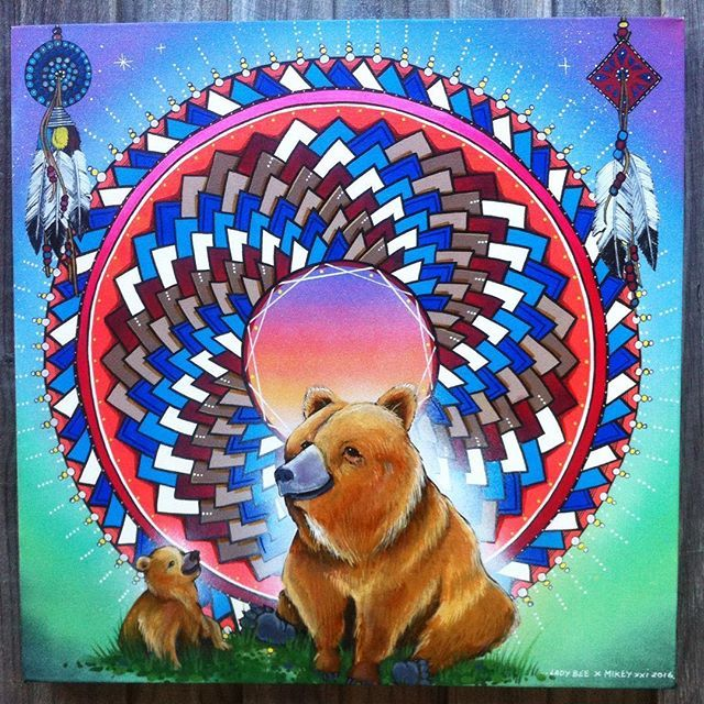 #growth  Collaborative canvas by Mikey xxi and lady bee 2016 Mixed media 50cm x 50cm @ladybeemandalaart #bear #cub #mandala #mikeyxxi #ladybeemandalaart  #artart  #mandalaart #sacredgeometry #totem #feathers #aerosol #acrylic #molotowmarkers #ink #mixedmedia #collaboration  D.m if interested