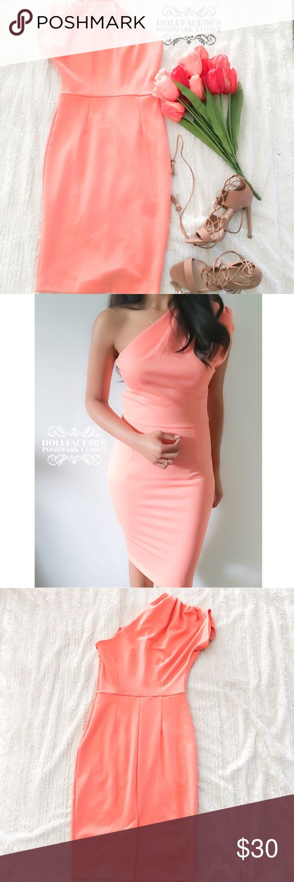 "ASOS Peach One Shoulder Midi Dress ✦  this stretchy peach dress has one shoulder & a midi fit, very glam & perfect for Spring ✦{I am not a professional photographer, actual color of item may vary ➾slightly from pics}  ❥chest:15"" ❥waist:13"" ❥length:39.5"" ❥sleeves:8"" ➳material/care:polyester+Elastane/machine wash  ➳fit:true/small ➳condition:  ✦20% off bundles of 3/more items ✦No Trades  ✦NO HOLDS ✦No transactions outside Poshmark  ✦No lowball offers/sales are final ASOS Dresses Midi"