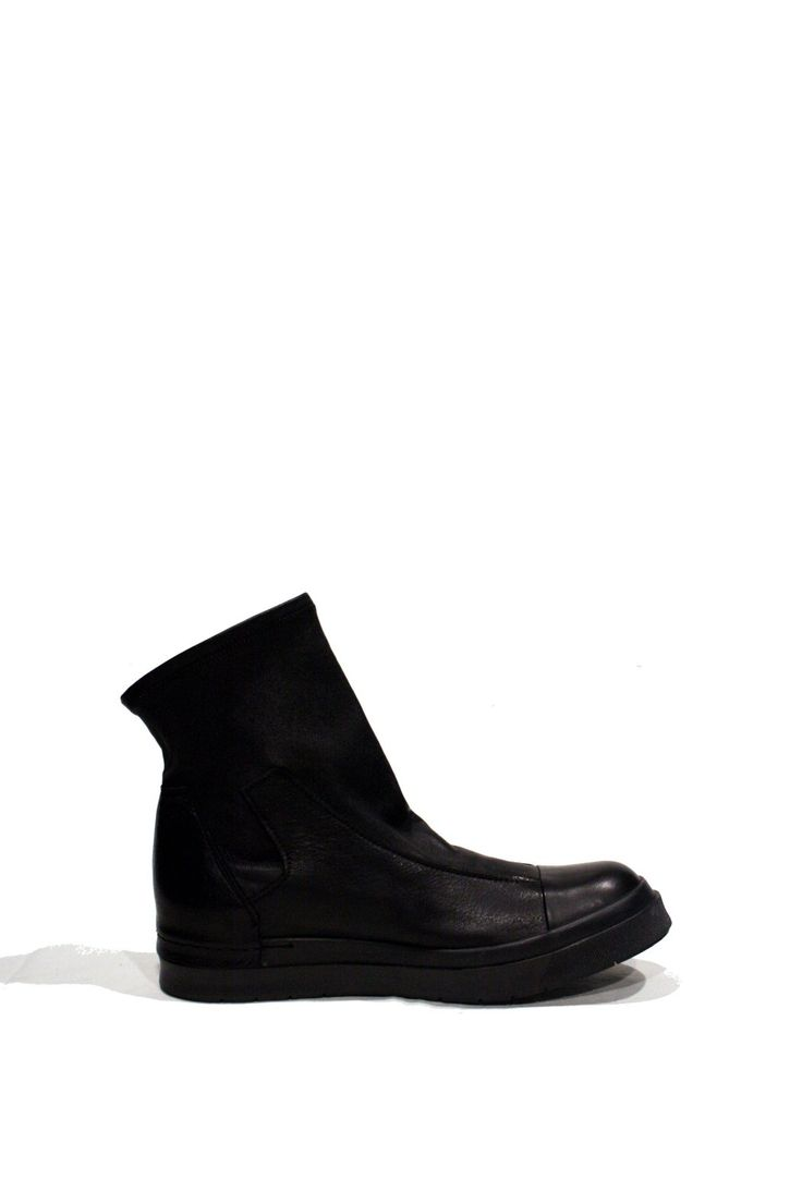 Black Smooth Leather Sock Boot