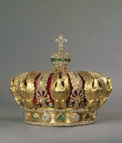 Empress Eugénie's Crown, by Gabriel Lemonnier, Paris, circa 1855. For the Paris Universal Exposition of 1855, Napoleon III decided to impress the whole world by exhibiting the Crown diamonds, which he had reset for the occasion. Alexandre-Gabriel Lemonnier was chosen to produce the crowns of the Emperor and of the Empress with part of these stones. The crown of the Empress, now in the Louvre, exemplifies both the pomp of the Second Empire and the virtuosity of the period's jewellers.