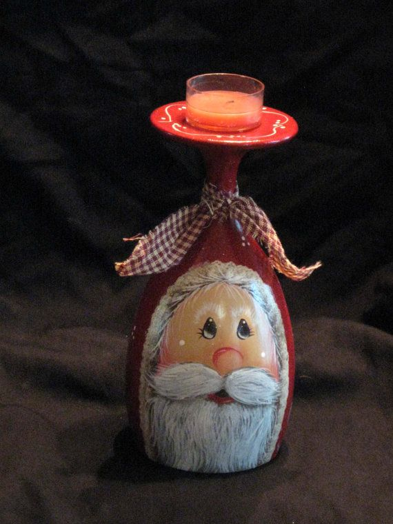 Santa candle holder vintage wine glass hand by KathysKountry