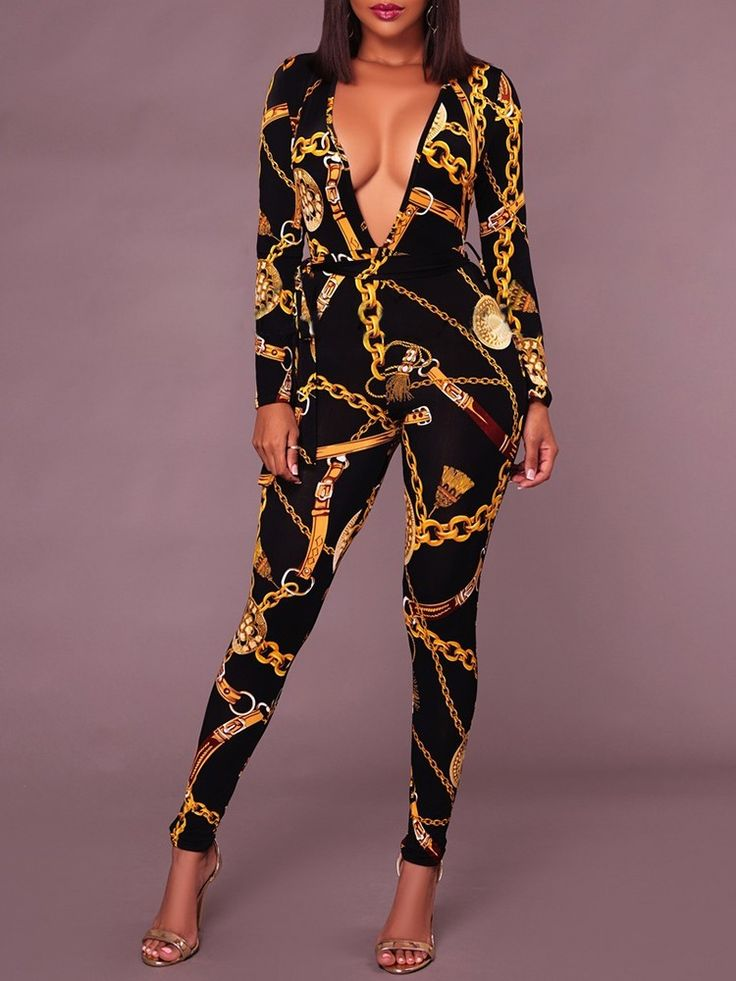 Shop Jumpsuits Sexy Deep V Neck Gold Chain Print Skinny Jumpsuit