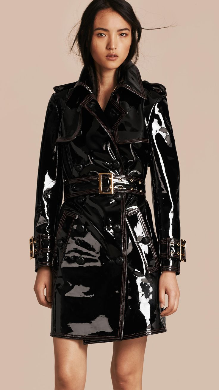 Gotta love a patent leather trench for that public fetish feel #Burberry