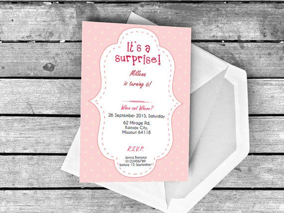 It's A Surprise Party Invitation Orchid Pink by BalloonMacaroon