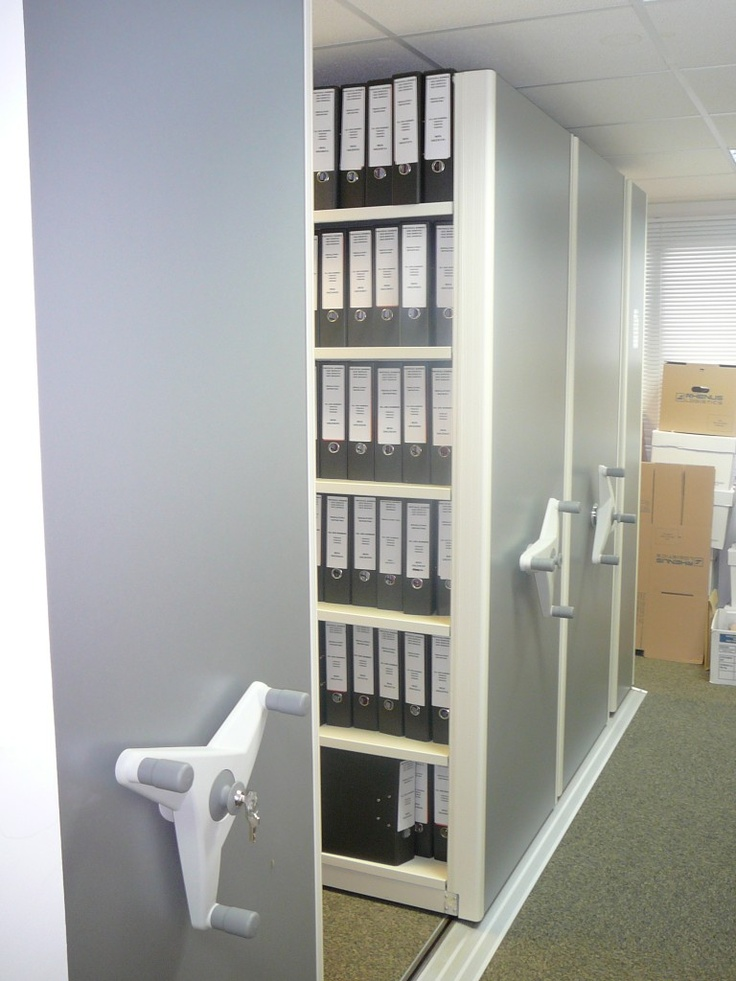 Flexistor - secure mobile file and archive storage for offices and warhouses http://www.compactstorage.co.uk/mobile-shelving/flexstor/
