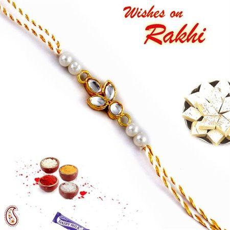 Picture of Kundans and White Pearl Beads Zari Thread Jewel Rakhi