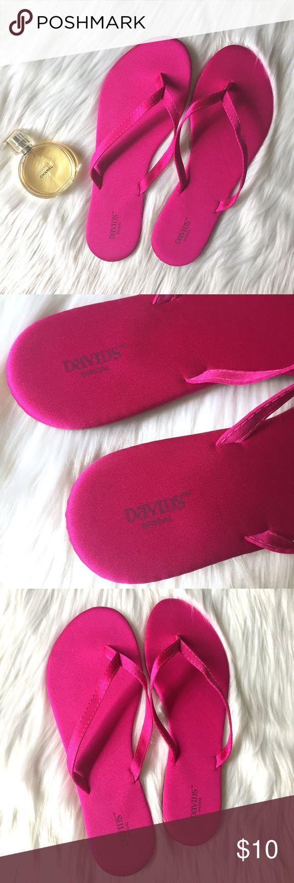 Davids's Bridal Pink Flip Flops Darling fuchsia satin flip flips! Size Medium (7-8) in great condition! davids bridal Shoes Sandals