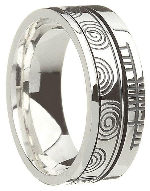 The Wedding Band Shop Sterling Silver Newgrange Spiral With Ogham Script Ring