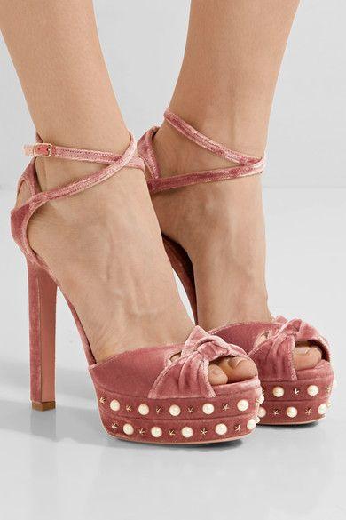AQUAZZURA Harlow embellished velvet platform sandals £670  worn by gigi hadid