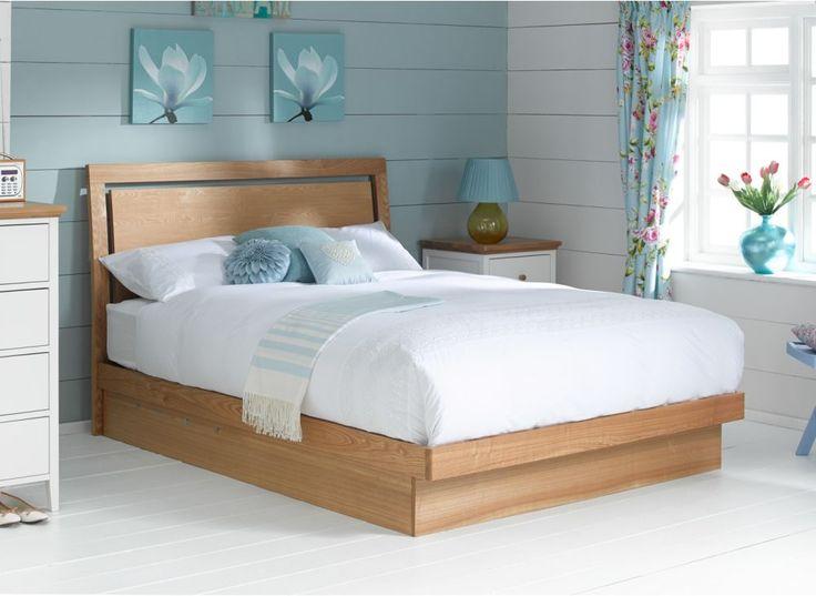 Isabella Oak Finish Wooden Ottoman Bed Frame