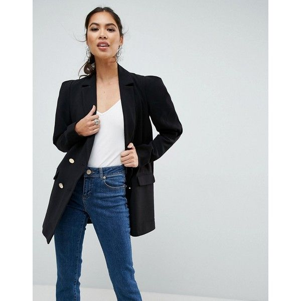ASOS Tailored Victoriana Sleeve Boxy Blazer (99 AUD) ❤ liked on Polyvore featuring outerwear, jackets, blazers, black, blazer jacket, tall blazer, party blazers, oversized blazer and prom blazers
