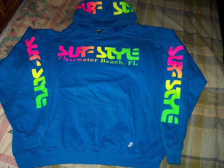 Retro Neon Aqua Blue Surf Style Mens Size XL Pullover Hoodie Vintage 90s Look   eBay