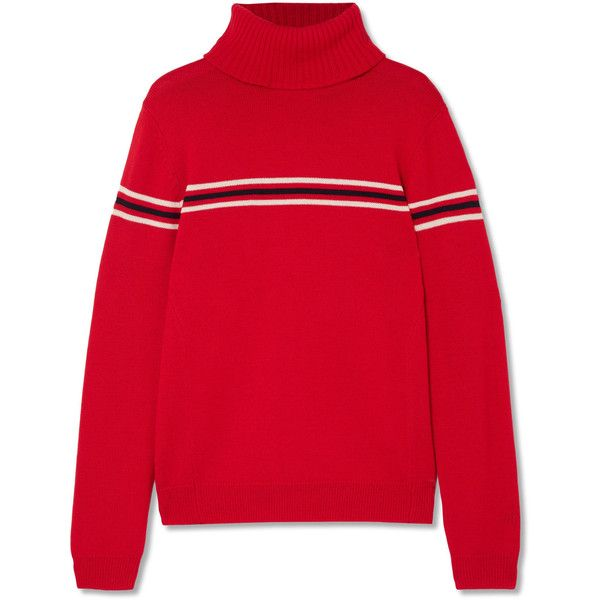Perfect Moment Orelle striped merino wool turtleneck sweater ($400) ❤ liked on Polyvore featuring tops, sweaters, jumper, red, slim fit sweaters, merino wool sweater, red top, striped turtleneck sweaters and striped turtleneck