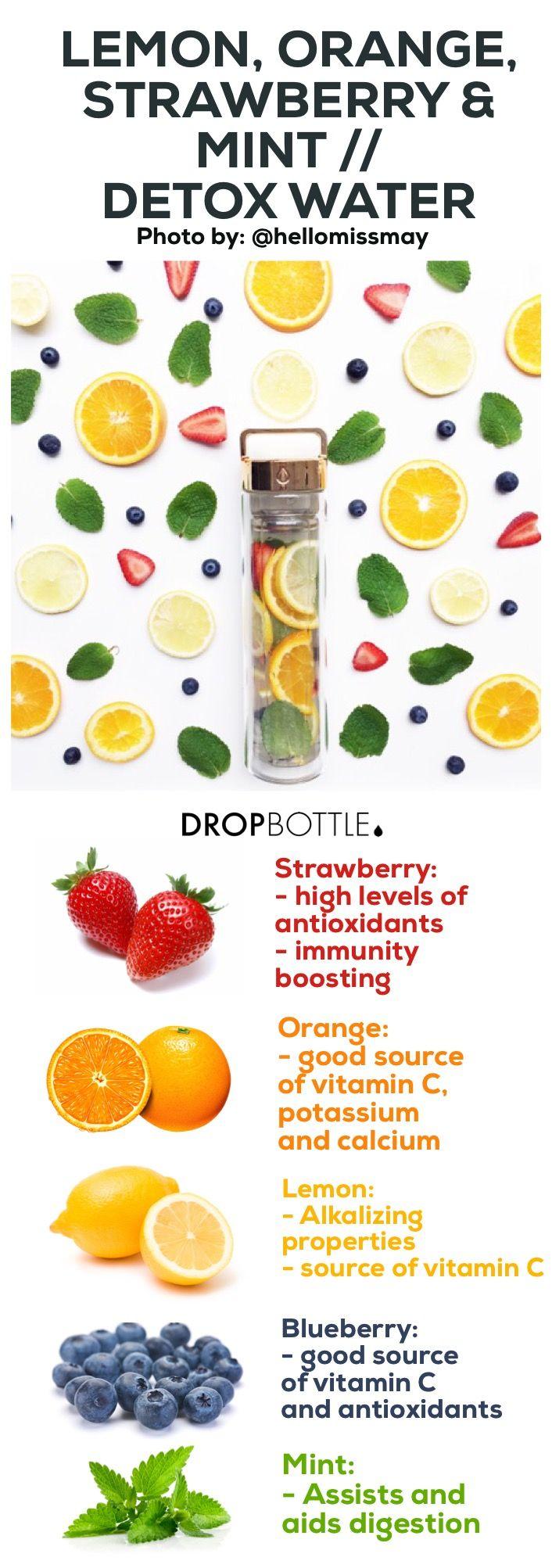 Lemon, Orange, Strawberry, Blueberry & Mint Detox Water // By @hellomissmay
