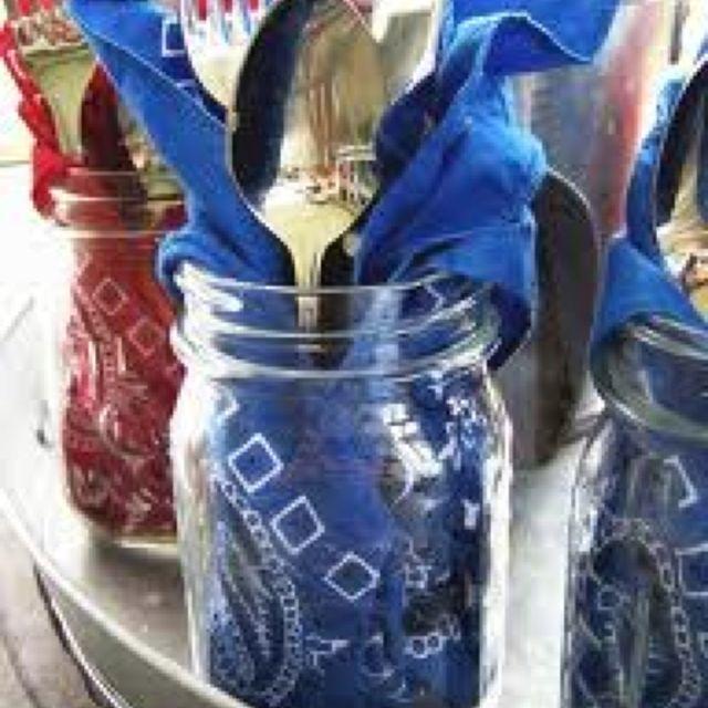 Summer cookout ideas - handkerchief in a mason jar to hold utensils