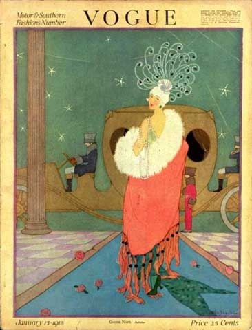 Vintage Vogue cover by Helen Dryden, January 15, 1918
