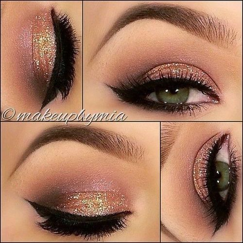 Peach smokey eye with sparkles and winged eyeliner.