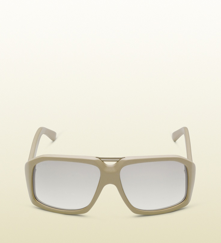 Glasses Leather Frame : large rectangle frame sunglasses in leather with sm ...
