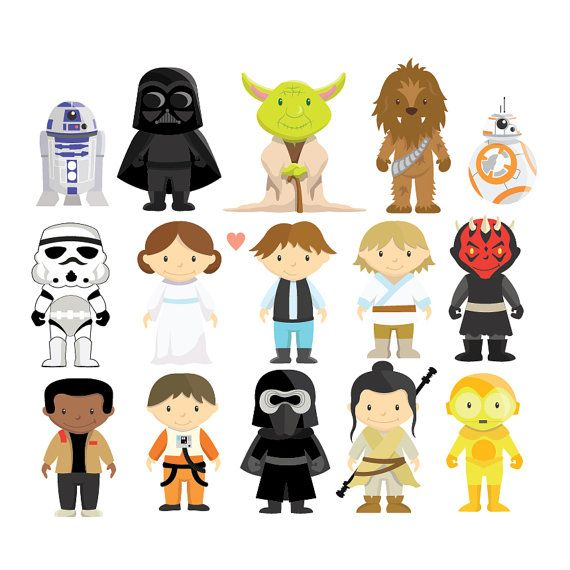 New Star Wars clipart and vector set perfect for your decorations, scrapbooking, gift tags, web design, graphic design, digital and print