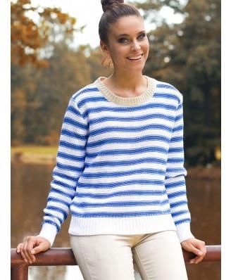Sweterek w marynarskim stylu model KATE. Luźny fason zakończony ściągaczami. Bardzo modny look. Idealny na każdą okazję. Podążaj z nami za modą!!!