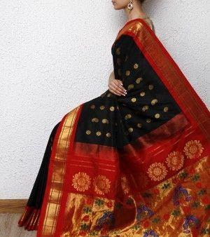 Black paithani silk saree