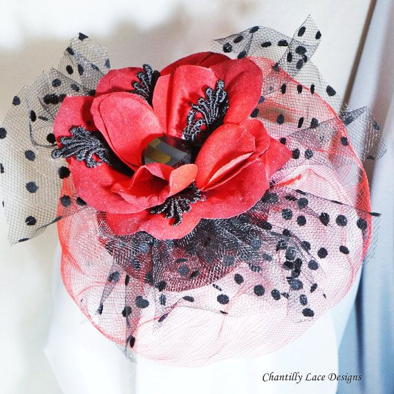 Red Velvet Flower Black Polka Dot Fascinator by ChantillyLaceDesigns Created in Edmonton Canada