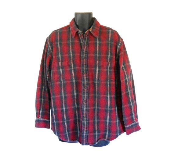 XL Tall Flannel Shirt Red Flannel Shirt Men 90s Grunge by #ShineBrightVintage