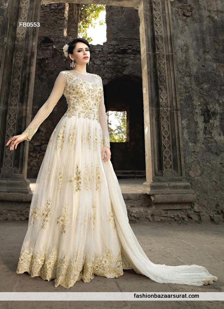 Hottest Eid Season Of 2017 Net And Diamond Work Gown Style Long Anarkali Suit.