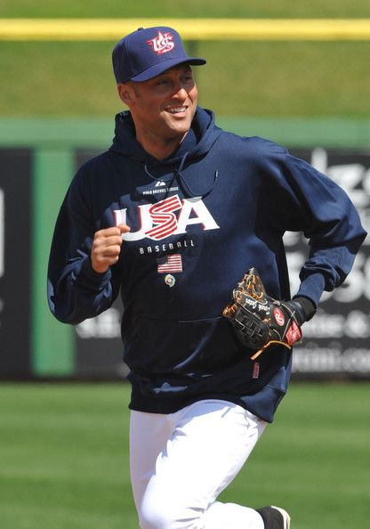 American pro baseball player, Derek Jeter doing warm up before a match