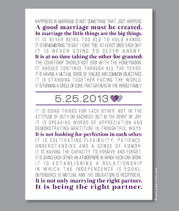 The Art Of Marriage Print Wedding Poem With Personalized Date Custom Song Lyrics Vows In Purple And Gray Colors